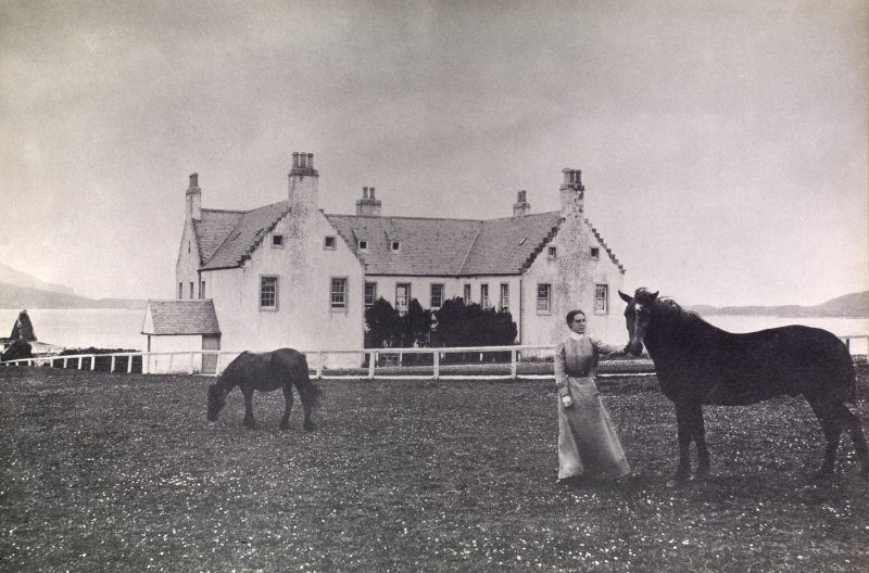 View of Balnakeil House showing woman and horses outside building. Titled: 'Balnakeil'.