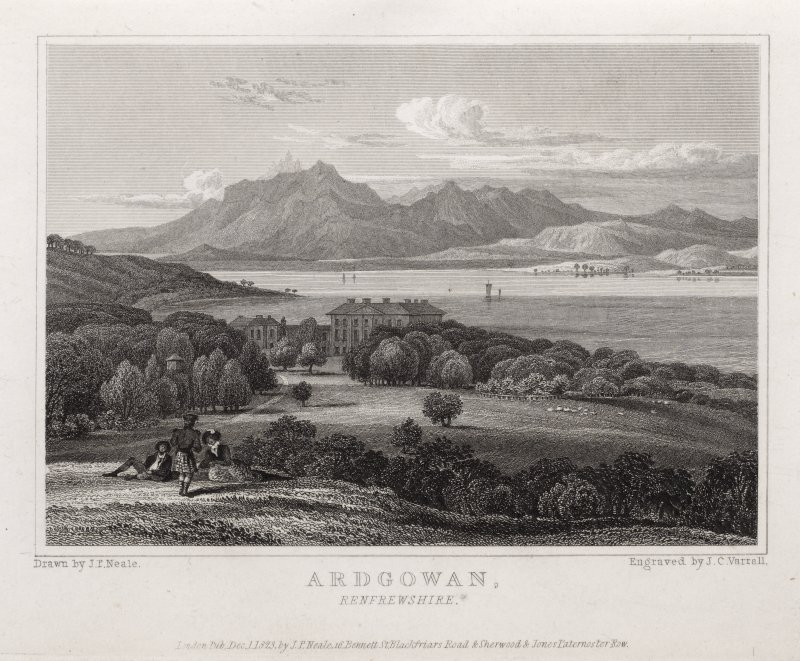 Engraving of Ardgowan House in its landscape, seen from the south. Titled 'Ardgowan, Renfrewshire. Drawn by J. P. Neale. Engraved by J. C.Varrell. London, Pub.Dec 1 1823 by J. P. Neale, 16 Bennett St. Blackfriars Road & Sherwood & Jones, Paternoster Row.