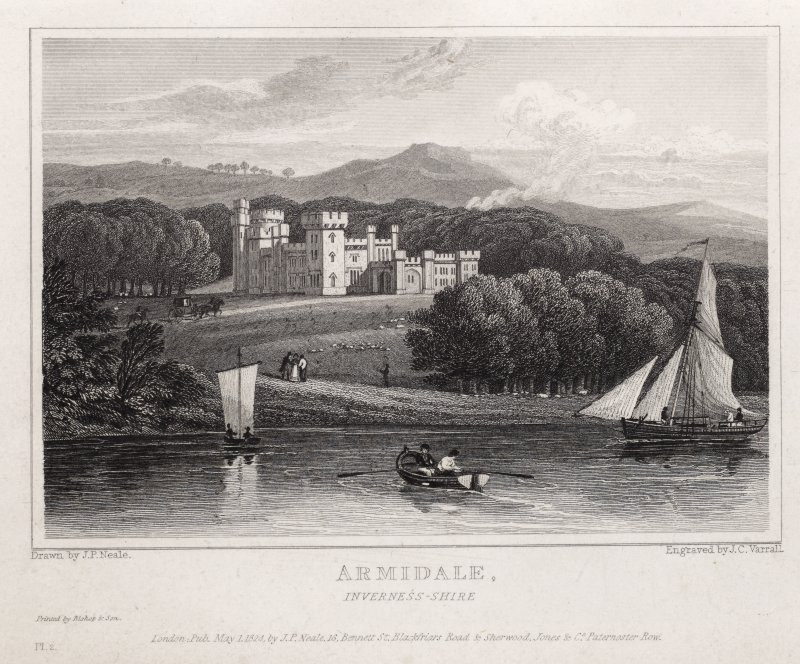 Engraving of Armadale Castle from the shore. Titled 'Armidale, Inverness-shire. Drawn by J. P. Neale. Engraved by J.C. Varrall. Printed by Bishop & Son. London. Pub.May 1 1824 by J. P. Neale, 16 Bennett St., Blackfriars Road & Sherwood, Jones & Co., Paternoster Row. Pl.2'
