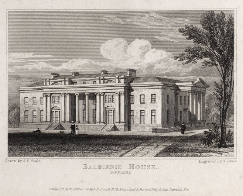 Engraving of Balbirnie House, front view. Titled 'Balbirnie House, Fifeshire. Drawn by J.P.Neale. Engraved by S. Rawle. London Pub. April 1 1822 by J. P. Neale, 16 Bennett St. Blackfriars Road & Sherwood, Neely & Jones, Paternoster Row.'