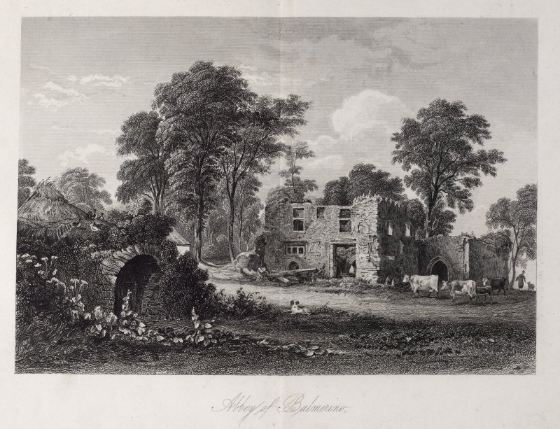 Engraving of ruins at Balmerino Abbey, with thatched building, trees, animals and figures. Titled 'Abbey of Balmerino.'