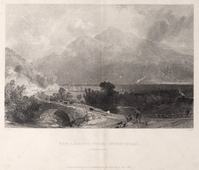 Engraving of general view showing road & road bridge at Inveruglas, close to jetty. Titled 'Ben Lomond from Inveruglas. (Dunbartonshire) T. Allom. J. Cousin. London Pub. for the Proprietors by Geo. Vi ...