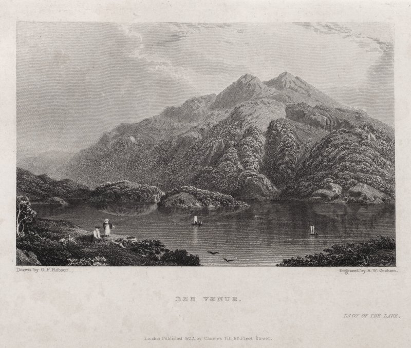 View of Ben Venue and loch with boats and figures. Titled ' Ben Venue. Lady of the Lake. Drawn by G. F. Robson. Engraved by A. W. Graham. Londoon pub. 1833 by Charles Tilt,  86 Fleet Street.