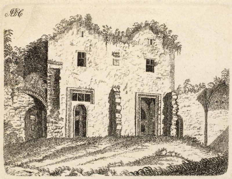 Engraving of part of Balmerino Abbey. Titled' Balmerinoch.'