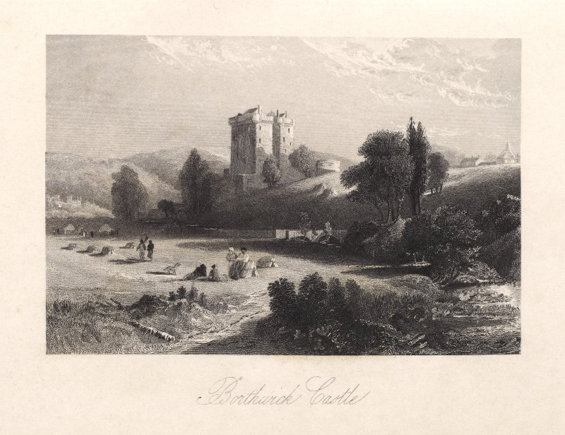 Engraving of Borthwick Castle in a landscape. Titled 'Borthwick castle.'