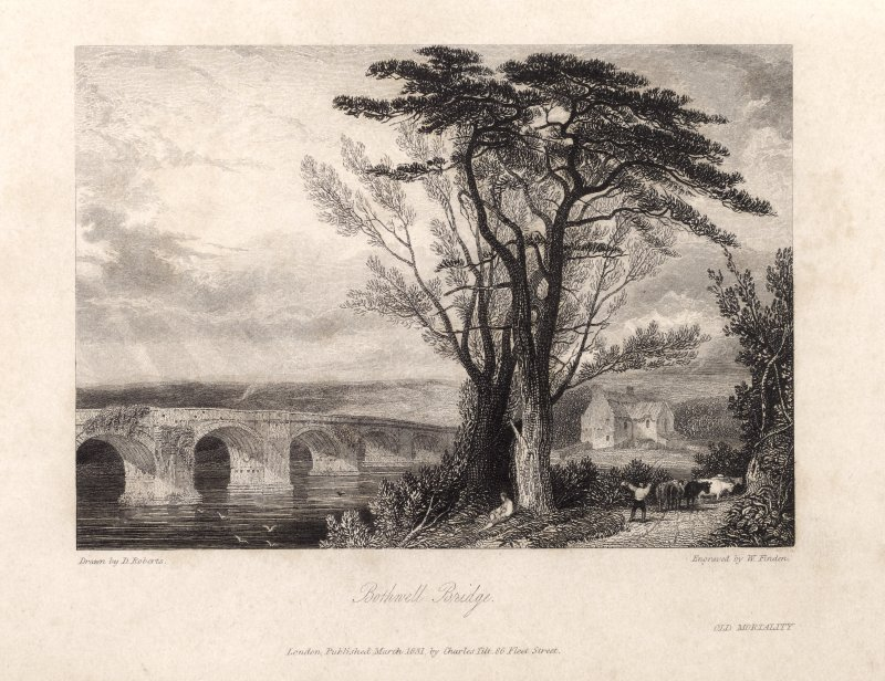 Engraving of Bothwell Bridge with 2-storey building nearby. Titled 'Bothwell Bridge. Drawn by D. Roberts. Engraved by W. finden. London Published March 1831 by Charles Tilt 86 Fleet Street. Old Mortality.'