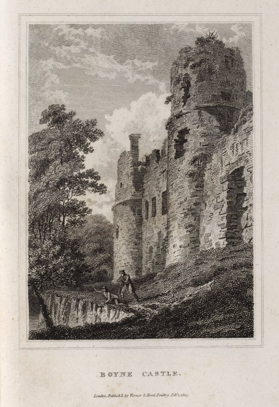 Engraving of Boyne Castle main facade. Titled 'Boyne Castle. London, pubd. by Vernor & Hood, Poultry, Febr. 1805.'