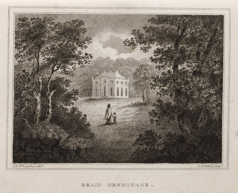 Engraving of Hermitage of Braid in its setting. Titled 'Braid Hermitage. T. E. Woolford delt. E. Mitchell sculpt.'