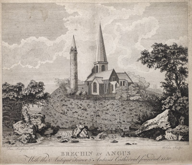 Engraving of Brechin Cathedal & Round Tower. Titled ' Brechiin in Angus, with the Antique Tower and antient Cathedral founded in 1150. Dav. Simpson delt. Wilson sculpt.'  Copied from 'Views in Scotland,' an undated collection of engravings, page 35. EAFAS bibliography.