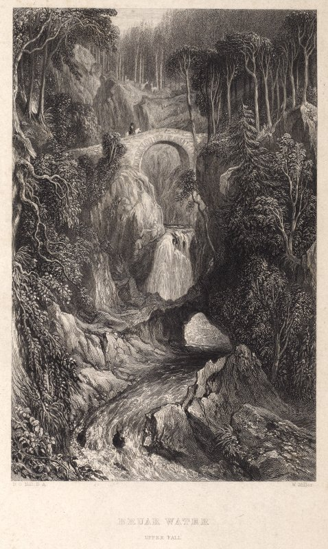 Engraving of bridge over the upper Falls of Bruar. Titled 'Bruar Water, Upper Falls. D. O. Hill, R.A. W. Miller. Published by Blackie & Son, Glasgow. Printed by W.& D. Duncan, Gla.' In pencil on rever ...