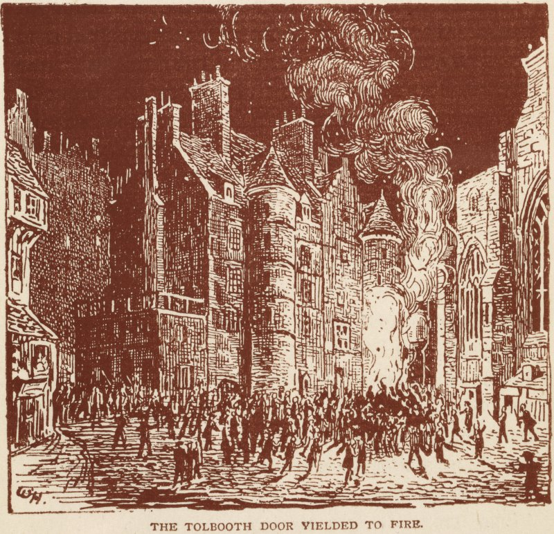 Drawing of the Old Tolbooth, Edinburgh, door being assaulted with fire by a mob Insc.: 'The Tolbooth Door Yielded to Fire'