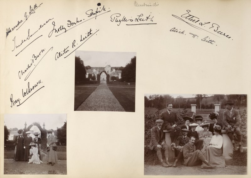 Three photographs showing group portraits at Glenkindie House, Aberdeenshire, with signatures.