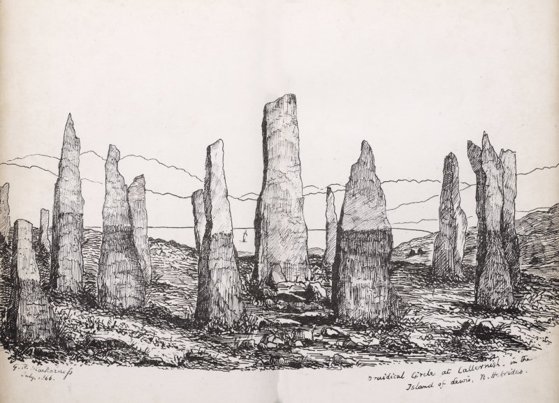 View of stone circle at Callanish, Lewis. Titled 'Druidical Circle at Callernish in the Island of Lewis, N. Hebrides. G. R. Mackarness , July 1866.' [Antiquarian, Vicar of Ilam, Derbyshire.]