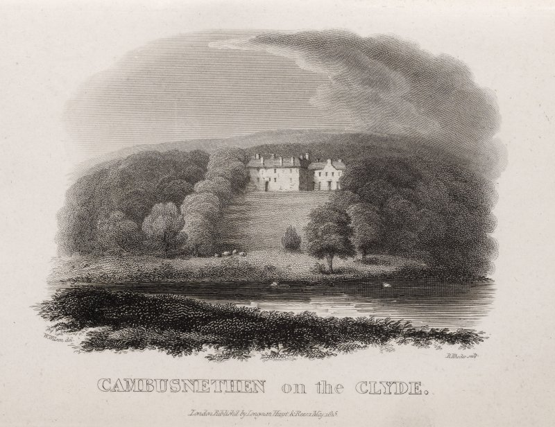 Engraving of Cambusnethan House above the Clyde. Titled 'Cambusnethan on the Clyde. W. Wilson del. R Rhodes sculp. London, published by Longman, Hurst and Rees, 1 May 1815.'