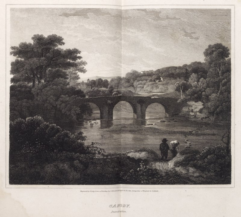 Engraving of Canonbie Bridge with buildings amid trees beyond. Titled: 'Canoby, Dumfrieshire'. Engraved by J. Greig from a painting by G. Arnold, A.R.A. for the Borders Antiquities of England & Scotla ...