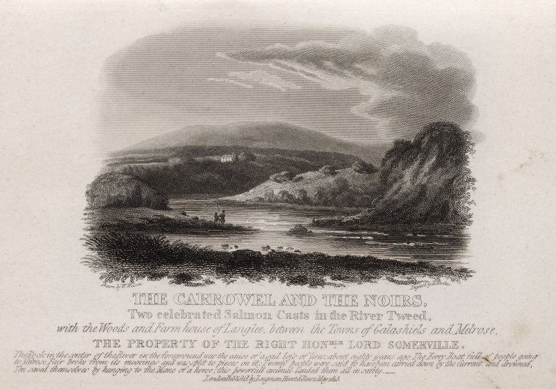 Engraving of River Tweed showing two salmon pools, with house in distance. Titled: 'The Carrowel & the Noirs, two celebrated Salmon casts in the River Tweed, with the woods and farmhouse of Langlee be ...