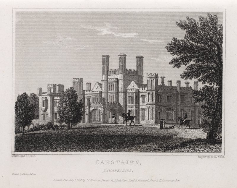 Engraving of Carstairs House from lawns. Titled: 'Carstairs, Lanarkshire. Drawn by J. P. Neale. Engraved by W. Wallis. Printed by Bishop & Son. London, published 1 July 1824 by J. P. Neale, 16 Bennett St., Blackfriars Road, & Sherwood Jones & Co, Paternoster Row.'