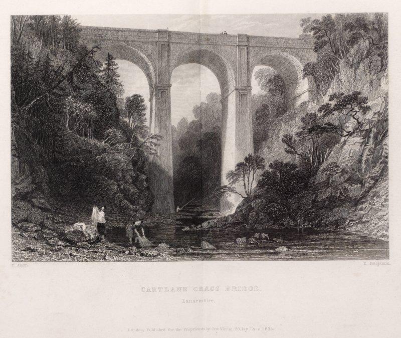 Engraving of Cartland Bridge from the river. Titled: 'Cartlane Crags Bridge. Lanarkshire. T. Allom. E. Benjamin. London, published for the Proprietors by Geo. Virtue, 26 Ivy Lane, 1835.'