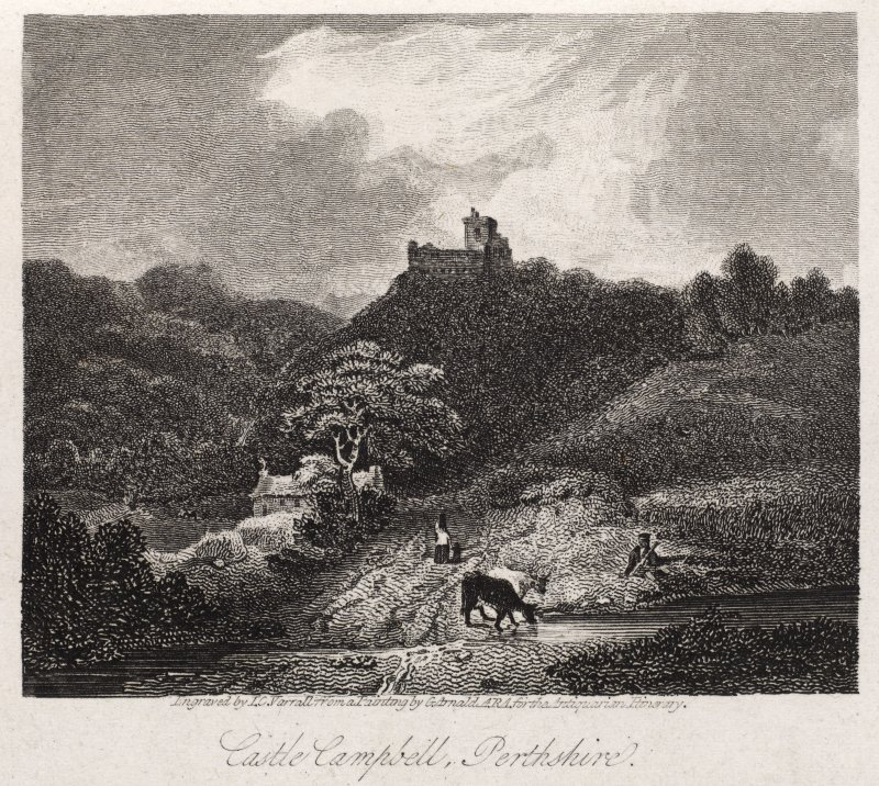 Engraving of Castle Campbell in distance. Titled 'Castle Campbell, Perthshire. Engraved by J. C. Varrall from a painting by G. Arnold, A.R.A. for the Antiquarian Library. Published for the Proprietors Feb. 1st 1815 by W. Clarke, New Bond Street.'