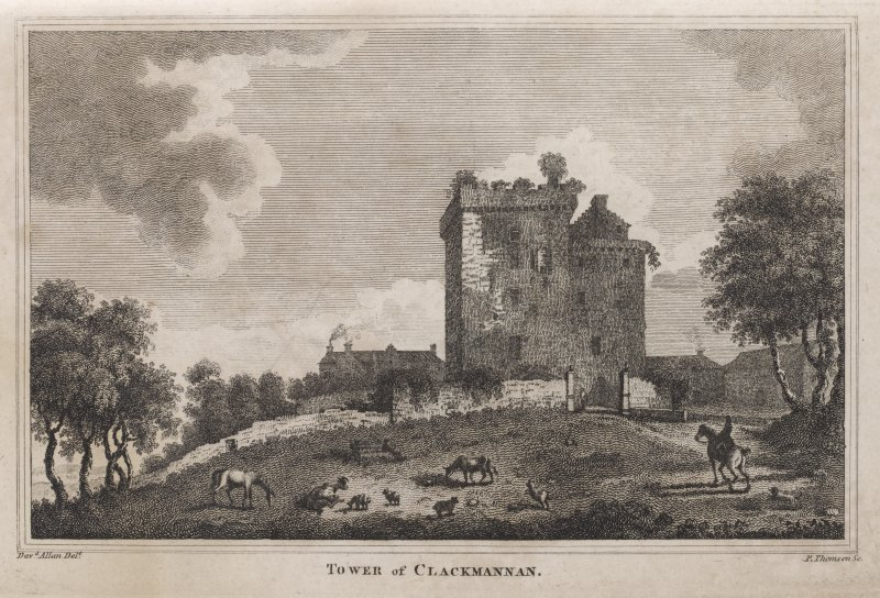 Engraving of Clackmannan Tower & adjacent buildings. Titled: ' Tower of Clackmannan. Davd. Allan delt.P. Thomson sc.'