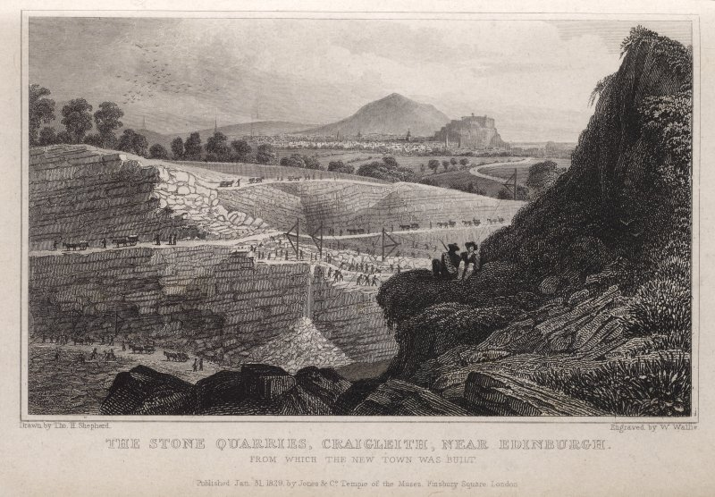 Engraving of Craigleith Quarry with men & lines of horses & carts at work. Titled: 'The Stone Quarries, Craigleith, near Edinburgh. from which the New Town was built. Drawn by Tho. H. Shepherd. Engrav ...