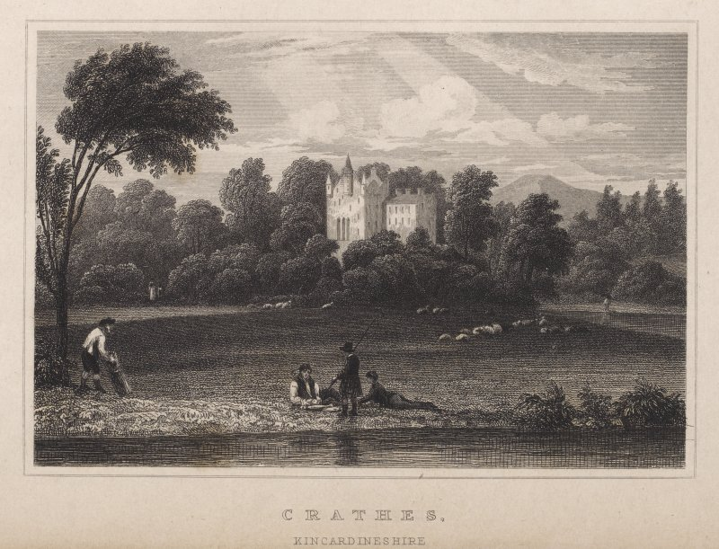 Engraving of Crathes Castle amid trees. Titled: 'Crathes Kincardineshire.