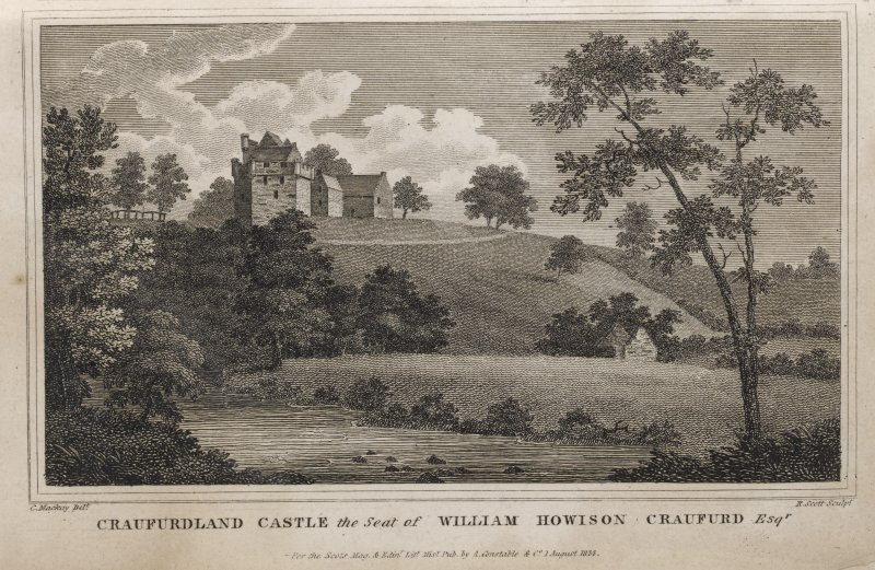 Engraving of Craufurdland Castle on hilltop above a river. Titled 'Craufurdland Castle the seat of William Howison Craufurd Esqr. C. Mackay delt. R. Scott sculpt. For the Scots Mag & Edinr. Lity. Misy. Pub by  A. Constable & Co. 1st August 1814.'