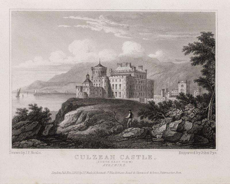 Engraving of Culzean Castle & outbuildings on clifftop from south. Titled: 'Culzean Castle (South East view) Ayrshire, Drawn by J.P.Neale. Engraved by John Pye. London, published Nov.1st 1823, by J.P. ...