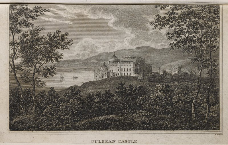 Engraving of Culzean Castle on clifftop from the south. Titled: 'Culzean Castle. R. Scott Sc.'
