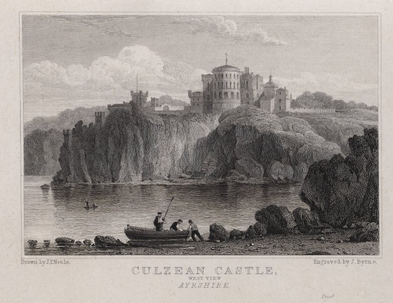 Engraving of Culzean Castle from the sea. Titled: 'Culzean Castle West View, Ayrshire. Drawn by J.P.Neale. Engraved by J. Byrne. London Pub. Aug.1st 1823 by J.P.Neale, 16 Bennett St., Blackfriars Road ...