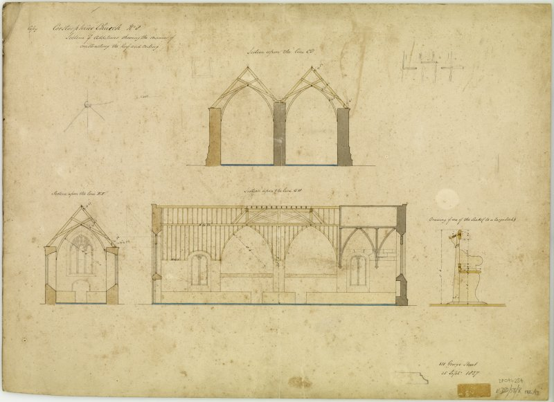 Edinburgh, Kirk Loan, Corstorphine Parish Church. Plan of roof and ceiling. Titled: 'Corstorphine Church No.8. Sections of additions showing the manner of constructing the roof and ceiling.