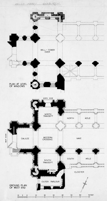 Plan of level of windows and ground plan of West end.