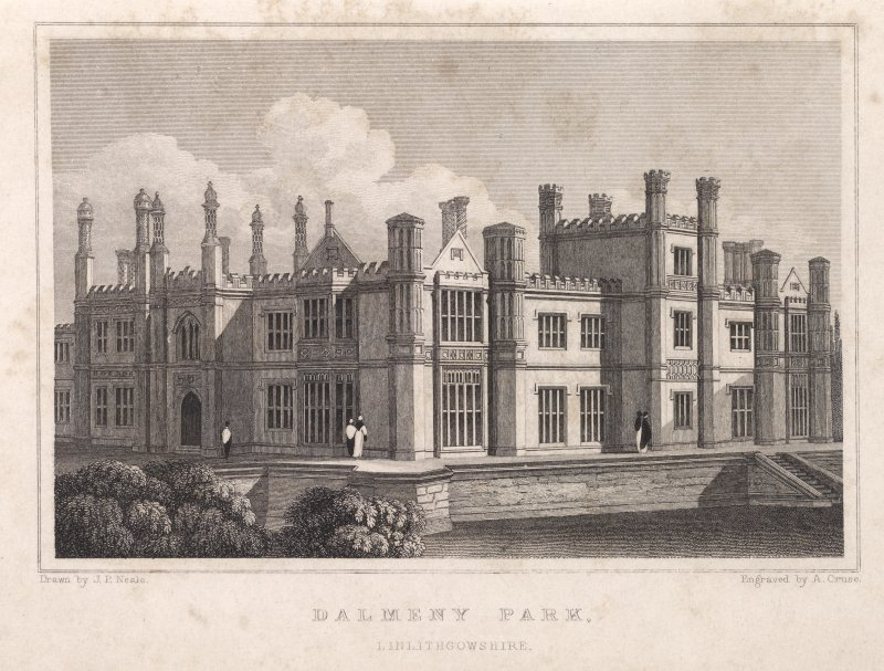 Engraving of Dalmeny House. Titled: 'Dalmeny Park, Linlithgowshire. Drawn by J. P. Neale. Engraved by A. Cruse. Jones & Co., Temple of the Muses, Finsbury Square, London.'