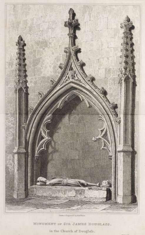 Engraving of tomb of Sir James Douglas. Titled: 'Monument of Sir James Douglass in the church of Douglass. Drawn and engraved by Edwd. Blore. Proof.'