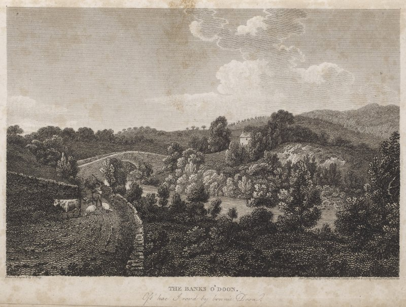 Engraving of landscape around Brig O' Doon. Titled: 'The Banks o' Doon. Oft hae I rov'd by bonnie Doon. Drawn and engraved by J. Greig, pub. Mar.3 1805 by Vernor & Hood, Poultry, J. Storer and J. Greig, Chapel Street, Pentonville.'