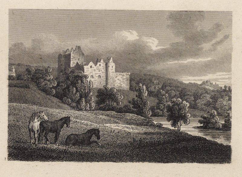 Engraving of Doune Castle above the river. Titled: 'Doune Castle, Perth.'