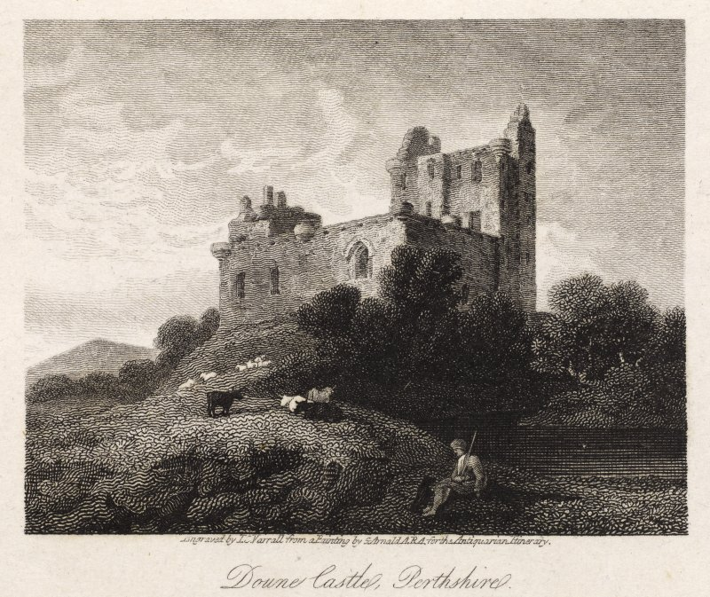 Engraving of Doune Castle. Titled: 'Doune Castle, Perthshire. Pl.3. Engraved by J.C. Varrall from a painting by G. Arnold, ARA for The Antiquarian Itinerary. Pl.3.'