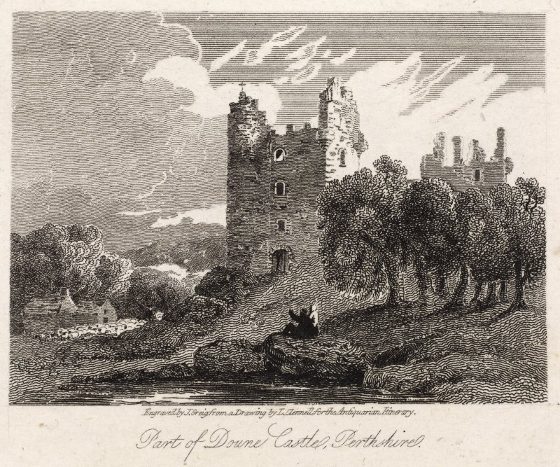 Engraving of Doune Castle. Titled: 'Part of Doune Castle, Perthshire. Engraved by J. Greig from a drawing by L. Clennell for the Antiquarian Itinerary.Published for the Proprietors Mar. 1st 1815 by W. Clarke, New Bond Street.'