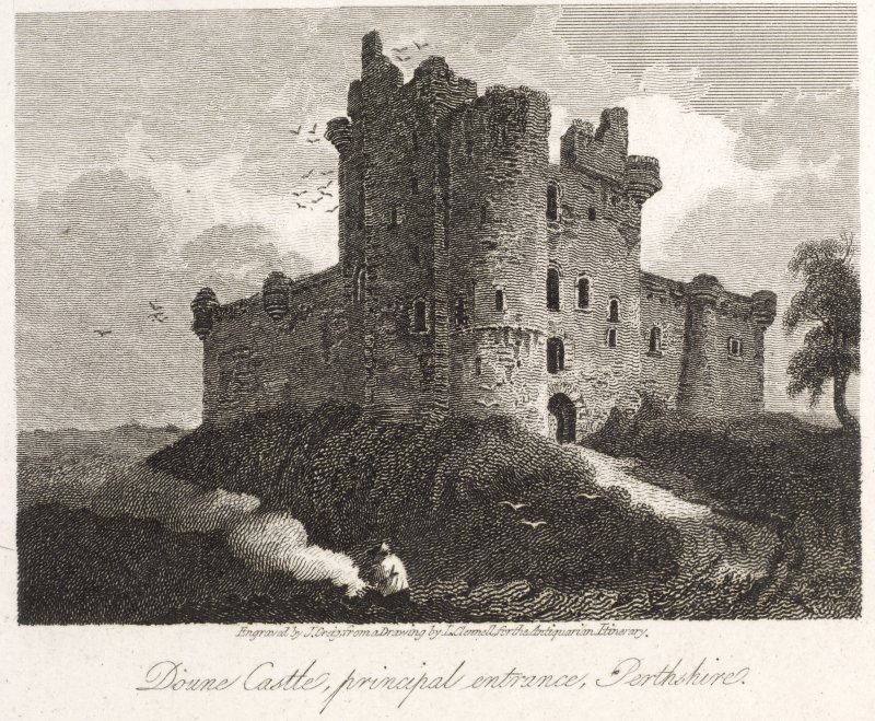 Engraving of Doune Castle showing main entrance beyond round tower. Titled: 'Doune Castle, principal entrance, Perthshire. Engraved by J. Greig from a drawing by J. Clennell for The Antiquarian Itinerary. Published for the Proprietors Mar.1st 1815 by W. Clarke. New bond Street'.