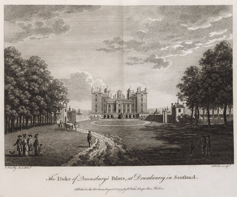 Engraving of Drumlanrig from driveway, showing main front & garden walls with end towers. Titled 'The Duke of Queensberry's Palace at Drumlanrig in Scotland. P. Sandby RA delint. W. Watts sculpt. Published as the Act directs, August 1st 1779, by W. Watts, Kemps Row, Chelsea.'