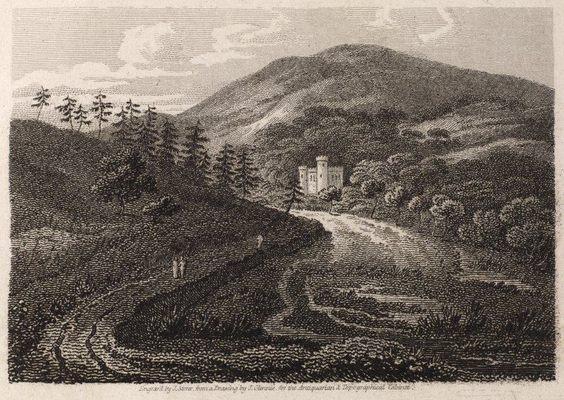 Engraving of Drumtochty Castle in a landscape. Titled: 'Drumtochty, Kincardineshire. Engraved by J. Storer from a drawing by J. Glennie for the Antiquarian and Topographical Cabinet.' A descriptive pa ...