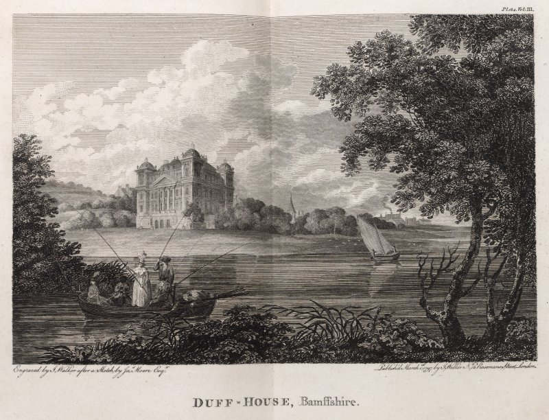 Engraving of Duff House on lawns above shoreline, with people fishing from a small boat, a church tower & buildings in distance. Titled 'Duff House, Bamnffshire. Engraved by J. Walker after  a sketch by Jas. Moore Esq. Published March 1st 1797 by J. Walker, No.16 Rosoman's Street, London.'