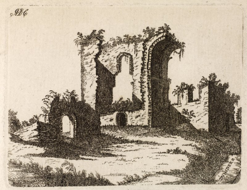 Engraving of Dunnideer Castle. Titled: 'Dunadeer. This castle also called Dun O' Dore stands on the summit of a considerable hill, rising out of the flat country of the Garrioch, about 12 miles from Old Meldrum. It was a place of great strength, defended by a double ditch and rampart. The building is now entirely demolished , except part of one end, which is the subject of the above plate. It is said to have been the residence of Gregory the Great, King of Scotland, who, in the year 892, according to Leslie and other Scottish historians, died in this Castle, and was from hence carried to Iona, where he was buried. ADC.' [Adam de Cardonnell.]