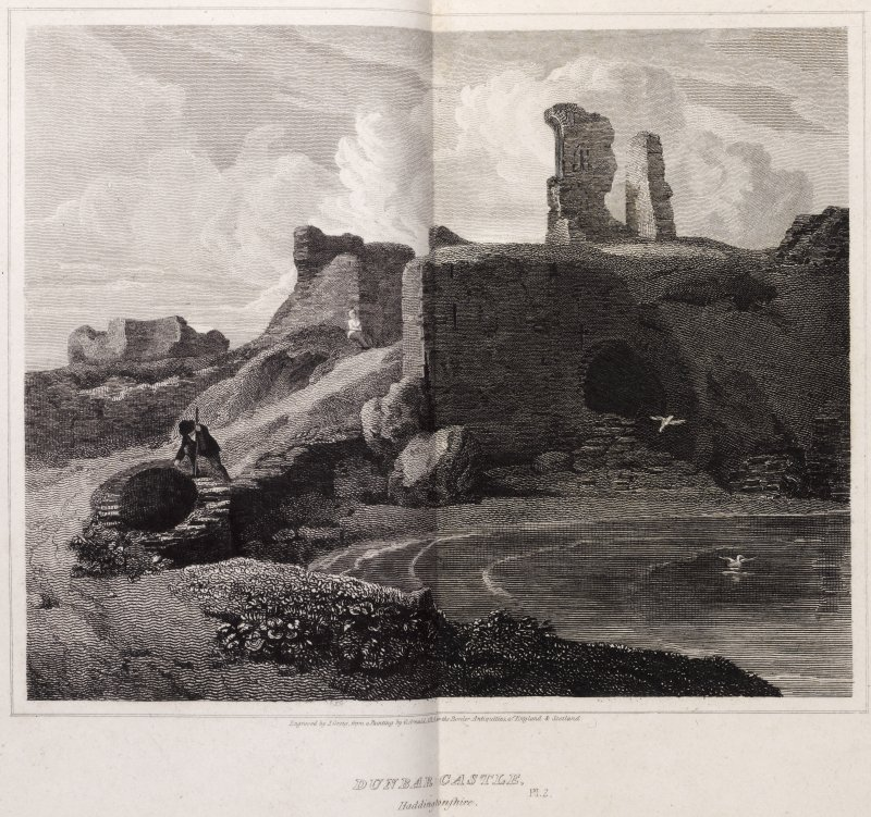 Engraving of Dunbar Castle ruins. Titled 'Dunbar Castle, Haddingtonshire. Engraved by J. Greig from a painting by G. Arnold, ARA for the Border Antiquities of England & Scotland. Pl.2. London, published May 1st 1815 for the Proprietors by Longman & Co., Paternoster Row.'