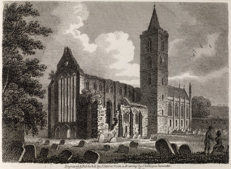 Engraving of Dunblane Cathedral. Northwest view. Titled ' Dunblane, Perthshire. North West View of the Cathedral. Engraved and published by J. Storer from a drawing by J. Gillespie, June 1st 1812.'