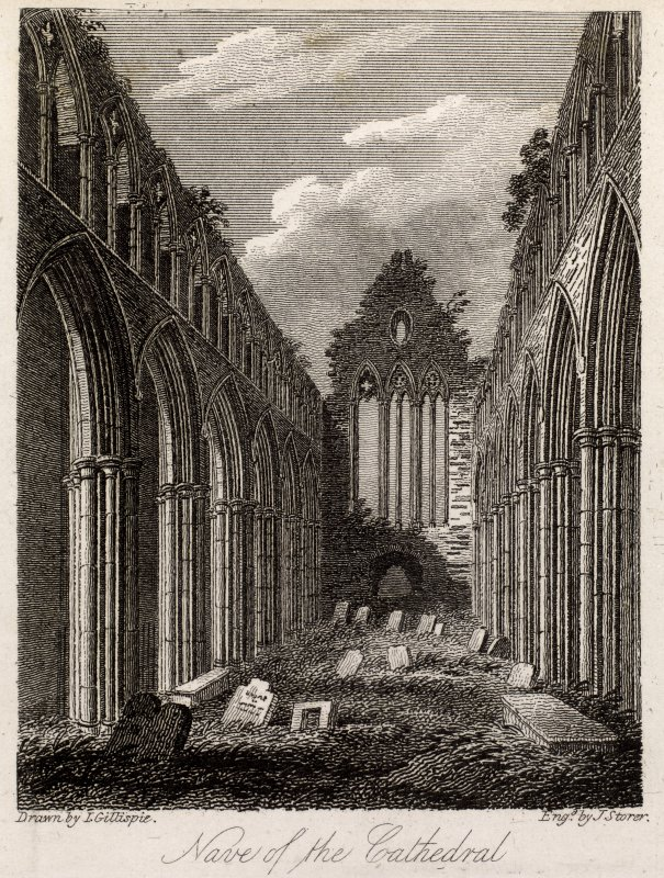 Engraving of the nave of Dunblane Cathedral. Titled: 'Dunblane, Nave of the Cathedral. Drawn by J. Gillespie. Engraved by J. Storer.'