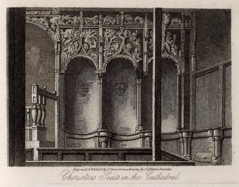 Engraving of choristers' seats, Dunblane Cathedral. Titled: 'Dunblane. Choristers' seats in the cathedral. Engraved & published by J. Storer from a drawing by J. Gillespie. June 1st 1812