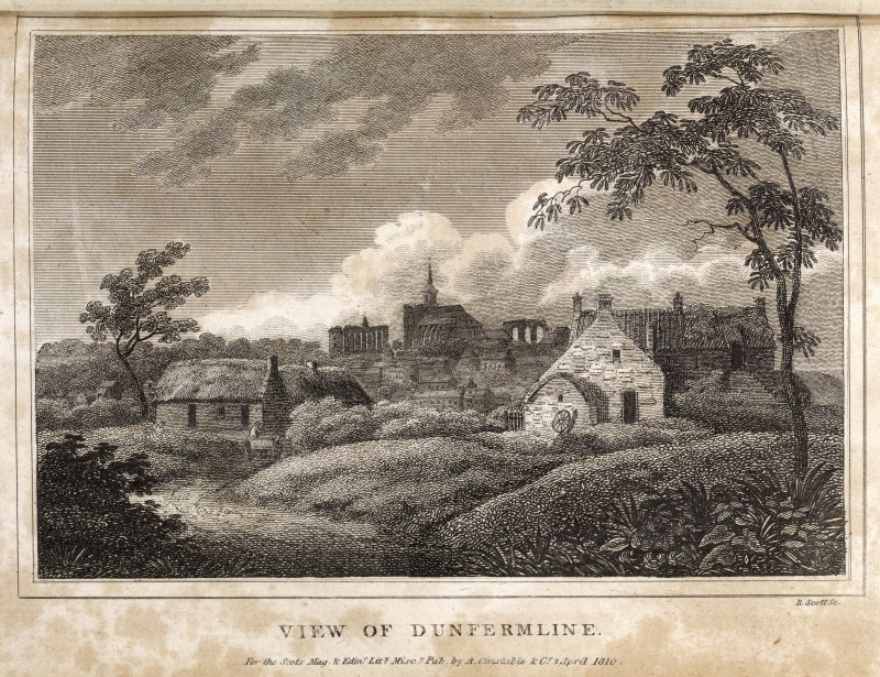 Engraving of Dunfermline Abbey on skyline with scattered cottages in foreground. Titled: ' View of Dunfermline for the Scots. Mag. & Edinr Lity Misc. pub by A. Constable & Co., 2 April 1810. R. Scott sculpt.'