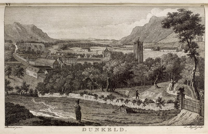Engraving of general view of Dunkeld with cathedral tower in foreground. Titled: 'Dunkeld. Stewart pinxt. P. Mavell sculpt.'