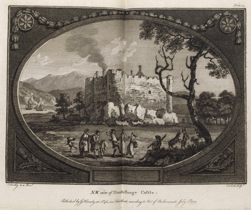 Engraving of northwest view of Dunstaffnage Castle. Titled 'Northwest view of Dunstaffnage Castle. P. Sandby RA pinxt. J. Scott sculpt. Pub. by G. Kearsly at No.46 in Fleet Street according to Act of Parliament July 1st 1779.'